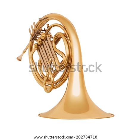 Golden french horn in soft light isolated on white background - stock photo