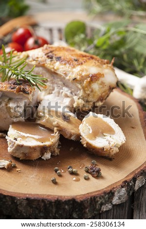 Golden fried stuffed chicken - stock photo