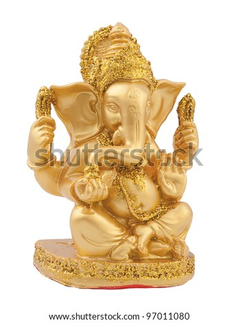 Golden Ganesh isolate on white background - stock photo
