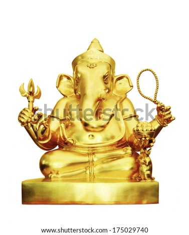 Golden ganesha hindu god of success isolated on white background, clipping path - stock photo