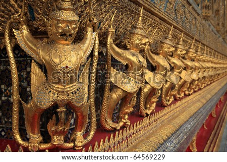 Golden Garuda in Wat Phra Kaew (Temple of the Emerald Buddha), Bangkok Thailand