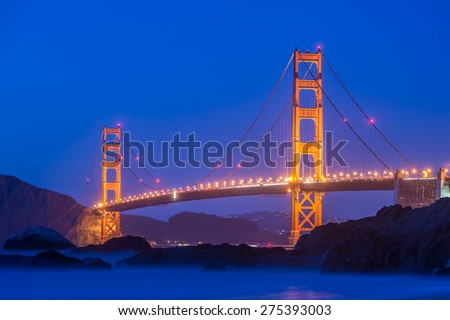 Golden gate at night in San Francisco