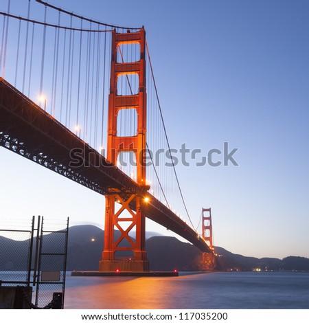 Golden Gate at night. San Francisco, USA - stock photo