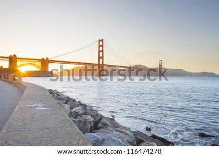Golden Gate Bride at sunset. San Francisco, California, USA - stock photo