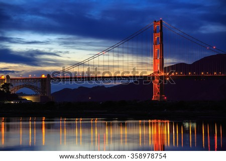 Golden Gate Bridge after sunset in San Francisco, CA
