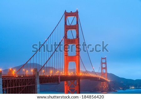 Golden Gate Bridge and downtown San Francisco at twilight