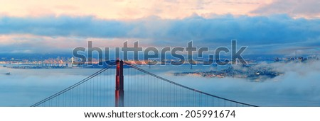 Golden Gate Bridge and fog panorama in San Francisco  - stock photo