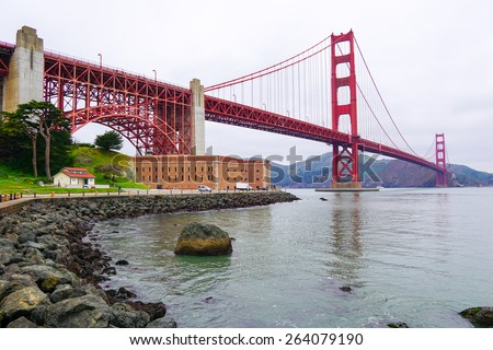 Golden Gate bridge and Fort Point in San Francisco, California. - stock photo