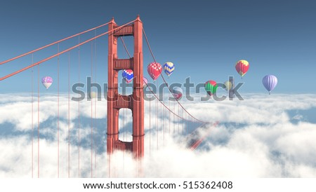 Golden Gate Bridge and hot air balloons Computer generated 3D illustration
