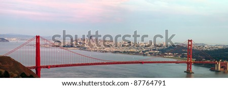 Golden Gate Bridge and San Francisco Bay Area City Skyline Panorama - stock photo