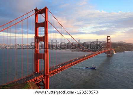Golden Gate Bridge and San Francisco Bay at sunset, seen from Marin Headlands. - stock photo