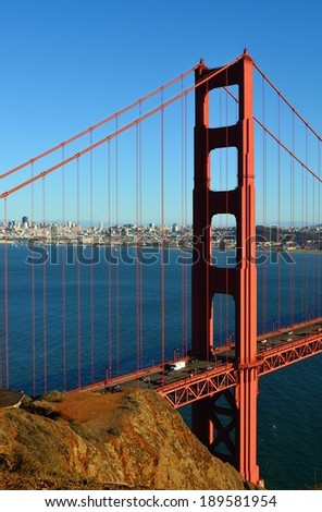 Golden Gate Bridge and San Francisco City Skyline at Sunset