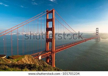 Golden Gate bridge and San Francisco skyline. - stock photo