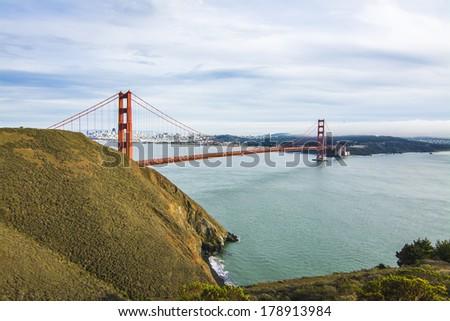 Golden Gate Bridge and San Francisco Skyline - stock photo
