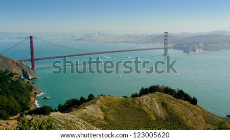 Golden Gate bridge and San Francisco south bay seen from Golden Gate National Recreation Area - stock photo