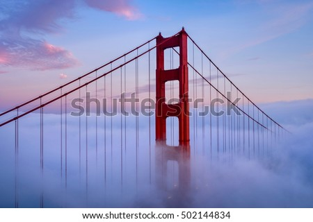 Golden gate bridge and the sunset at San Francisco