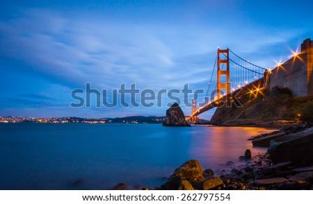 Golden Gate Bridge as seen from Fort Baker, Sausalito in California. - stock photo