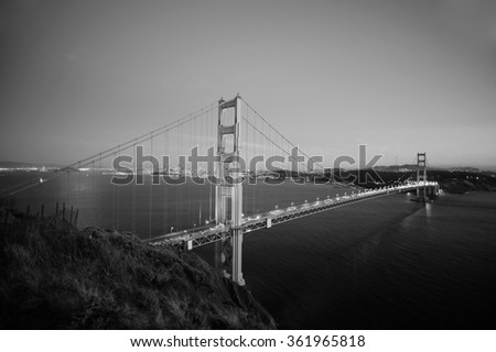 Golden Gate Bridge at evening. San Francisco, USA