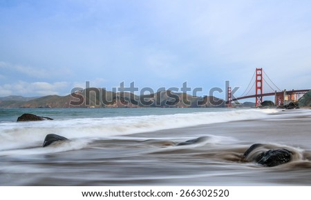 Golden Gate Bridge at Marshall Beach with room for TEXT - stock photo