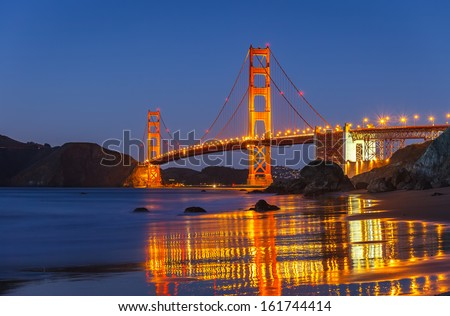 Golden Gate Bridge at night, San Francisco - stock photo