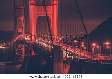 Golden Gate Bridge at Night. San Francisco Legendary Golden Gate Bridge. San Francisco, California, United States. - stock photo