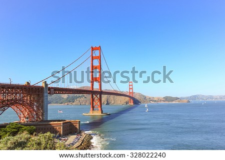 Golden Gate bridge at San Francisco with the clear sky.
