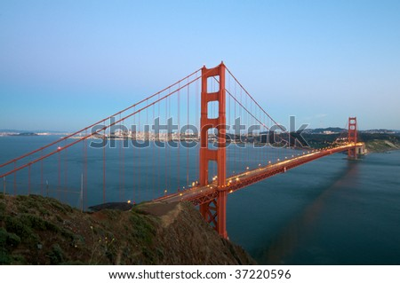 Golden Gate Bridge at sunset in San Francisco