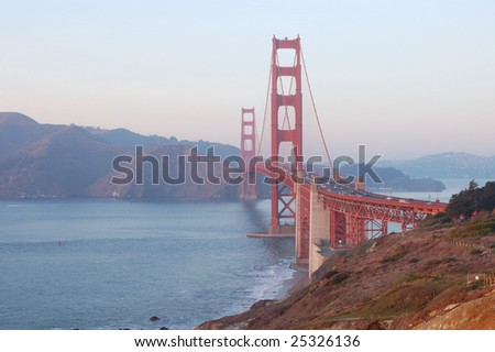 Golden Gate Bridge at sunset; San Francisco, California