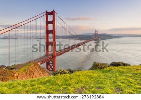 Golden Gate Bridge at sunset, San Francisco, California, USA - stock photo