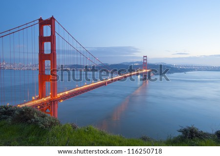 Golden Gate Bridge at sunset. San Francisco, USA.
