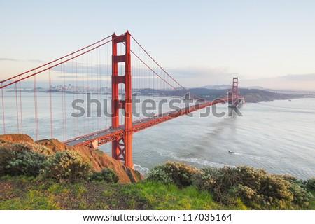 Golden Gate Bridge at sunset. San Francisco, USA. - stock photo