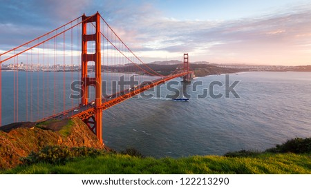 Golden Gate Bridge at sunset, seen from Marin Headlands.