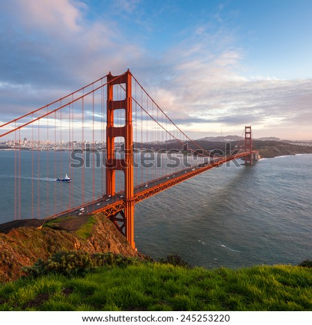 Golden Gate Bridge at sunset, seen from Marin Headlands. - stock photo
