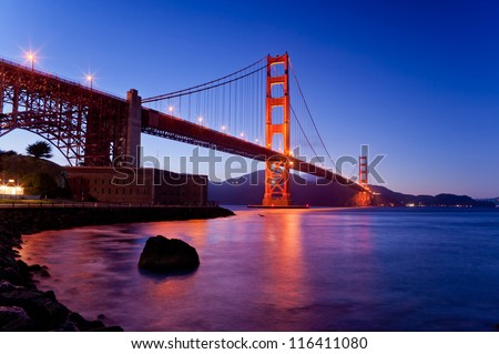 Golden gate bridge from bottom view in dusk time, San francisco, California, USA, america - stock photo