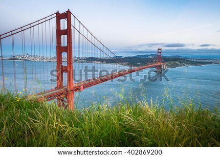 Golden Gate Bridge from Marin Headland, Famous landmark of San Francisco USA