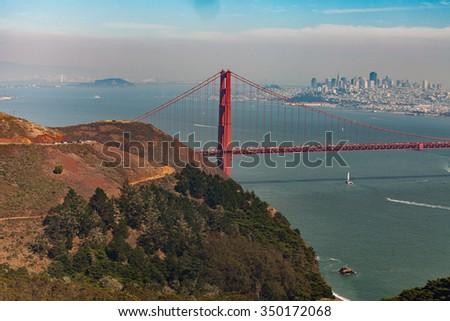 Golden Gate Bridge from Marin Headlands, San Francisco, California, USA - stock photo