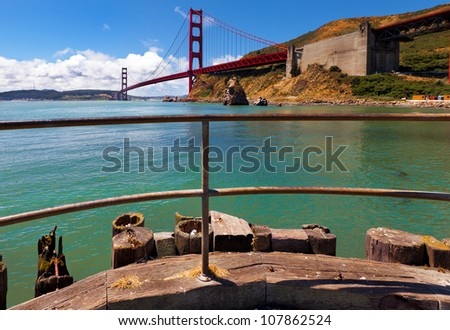 Golden Gate Bridge. Great view from the north side of the bridge. - stock photo