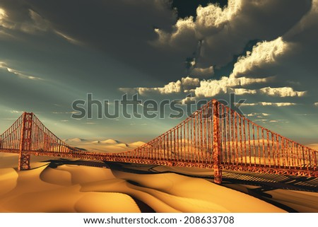 Golden Gate Bridge in desolate future - stock photo