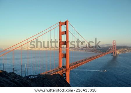 Golden Gate Bridge in San Francisco as the famous landmark. - stock photo