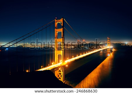 Golden Gate Bridge in San Francisco as the famous landmark. - stock photo