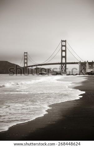 Golden Gate Bridge in San Francisco at Baker Beach. - stock photo