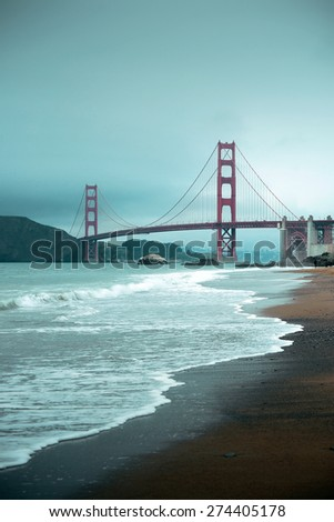 Golden Gate Bridge in San Francisco at Baker Beach.