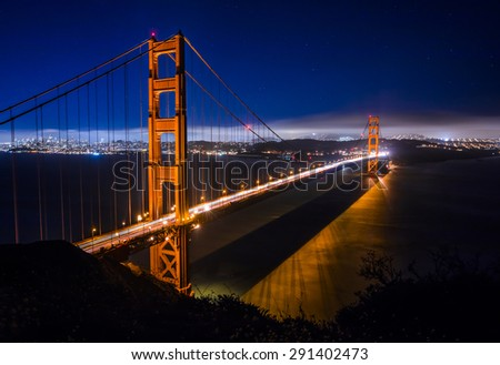 Golden Gate Bridge in San Francisco at night just after sunset