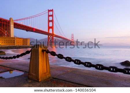 Golden Gate Bridge in San Francisco at sunrise - stock photo