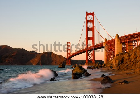 Golden Gate Bridge in San Francisco at sunset - stock photo