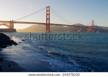 Golden Gate Bridge in San Francisco at sunset, California, USA