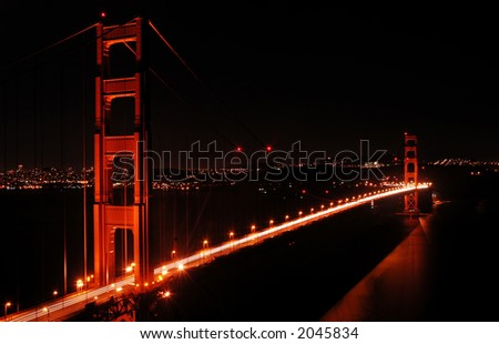 Golden Gate Bridge in San Francisco, California, at night - stock photo