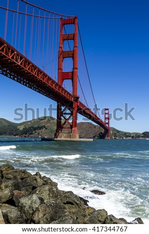 Golden Gate Bridge in San Francisco California from Fort Point National Historic Site on sunny morning