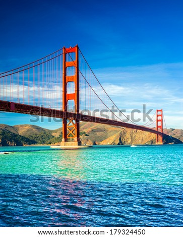Golden Gate bridge in San Francisco, California, USA. - stock photo