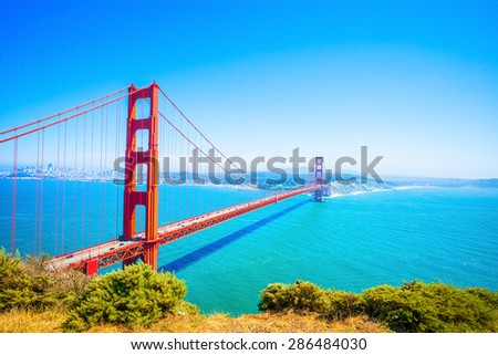 Golden Gate Bridge in San Francisco, California, USA - Daytime - stock photo